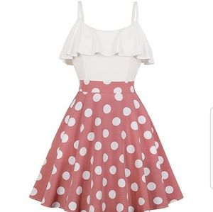Dresses & Skirts - White and pink polka with ruffles dress